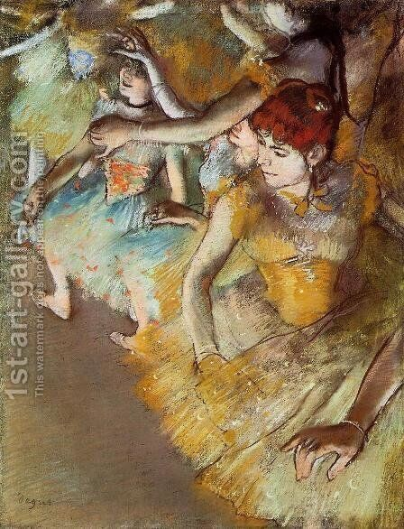 Ballet Dancers on the Stage by Edgar Degas - Reproduction Oil Painting