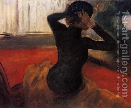 Woman Trying on a Hat by Edgar Degas - Reproduction Oil Painting