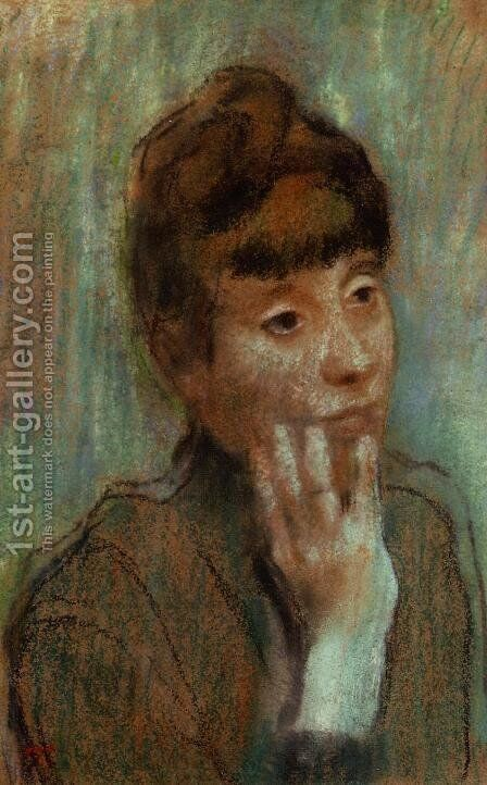 Portrait of a Woman Wearing a Green Blouse by Edgar Degas - Reproduction Oil Painting
