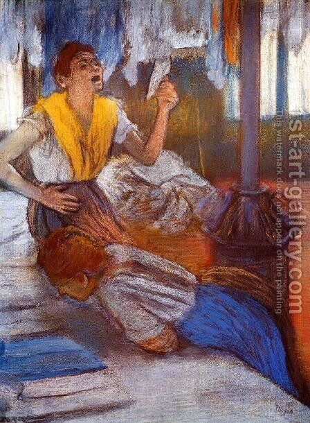 In a Laundry by Edgar Degas - Reproduction Oil Painting