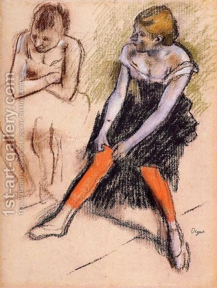 Dancer with Red Stockings by Edgar Degas - Reproduction Oil Painting