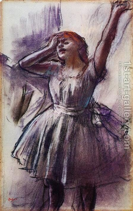 Dancer with Left Art Raised by Edgar Degas - Reproduction Oil Painting