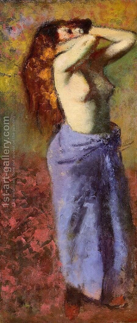 Woman in a Blue Dressing Gown, Torso Exposed by Edgar Degas - Reproduction Oil Painting