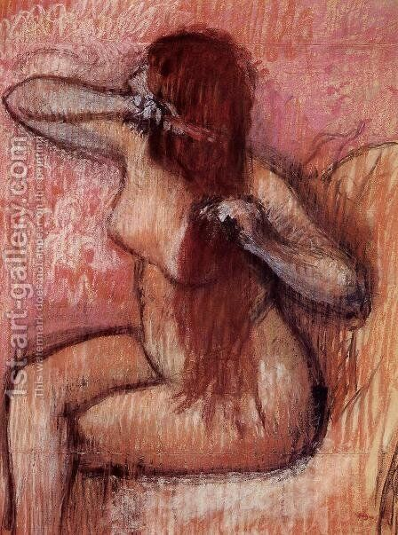 Seated Nude Combing Her Hair by Edgar Degas - Reproduction Oil Painting