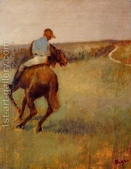 Jockey in Blue on a Chestnut Horse by Edgar Degas - Reproduction Oil Painting