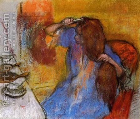 Woman Brushing Her Hair by Edgar Degas - Reproduction Oil Painting