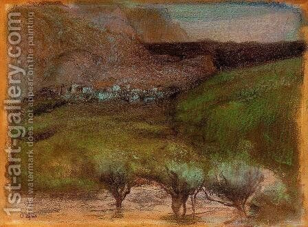 Olive Trees against a Mountainous Background by Edgar Degas - Reproduction Oil Painting