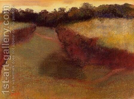 Wheatfield and Line of Trees by Edgar Degas - Reproduction Oil Painting