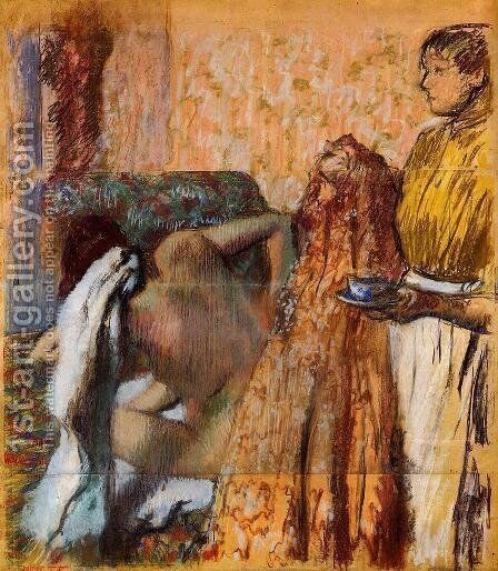 Breakfast after the Bath by Edgar Degas - Reproduction Oil Painting