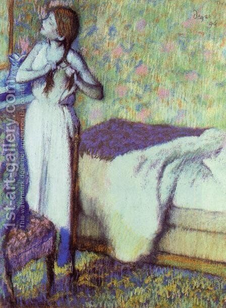 Young Girl Braiding Her Hair by Edgar Degas - Reproduction Oil Painting