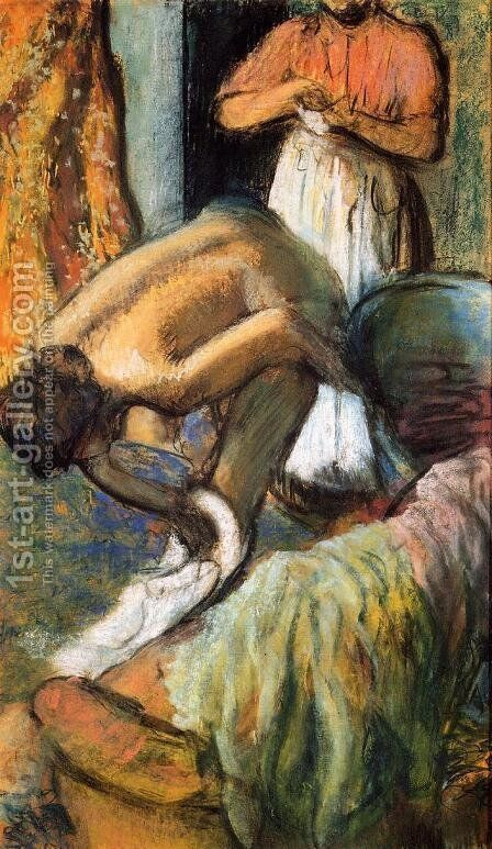 Breakfast after the Bath I by Edgar Degas - Reproduction Oil Painting