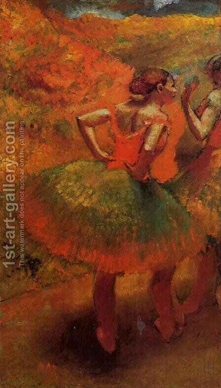 Two Dancers in Green Skirts, Landscape Scenery by Edgar Degas - Reproduction Oil Painting