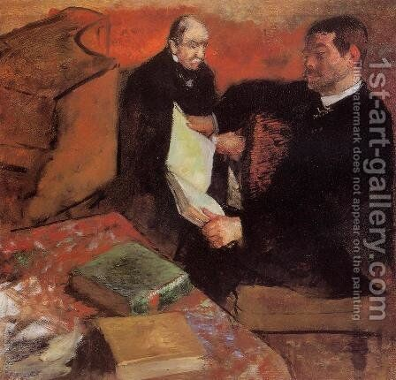 Pagan and Degas' Father by Edgar Degas - Reproduction Oil Painting