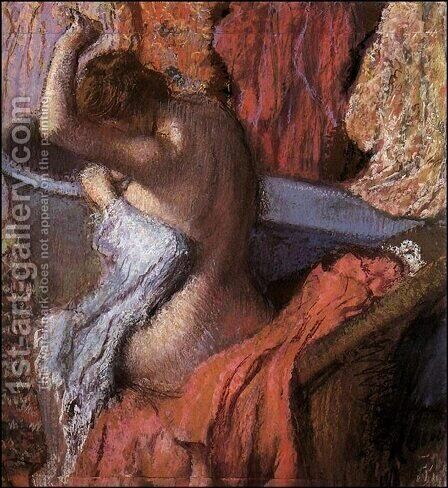 Seated Bather Drying Herself by Edgar Degas - Reproduction Oil Painting
