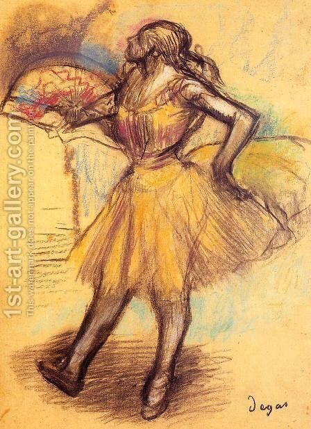 Dancer with a Fan (study) by Edgar Degas - Reproduction Oil Painting