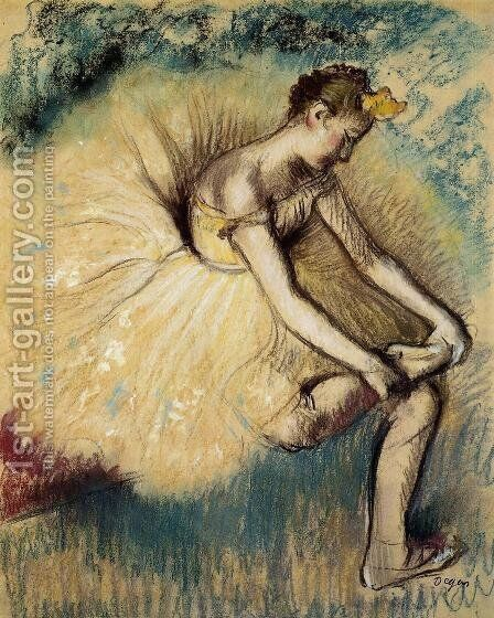 Dancer Putting on Her Slipper by Edgar Degas - Reproduction Oil Painting