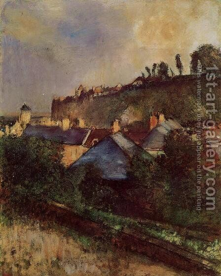Houses at the Foot of a Cliff by Edgar Degas - Reproduction Oil Painting