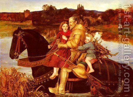 A Dream of the Past - Sir Isumbras at the Ford by Sir John Everett Millais - Reproduction Oil Painting