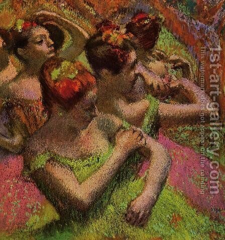 Ballerinas Adjusting Their Dresses by Edgar Degas - Reproduction Oil Painting