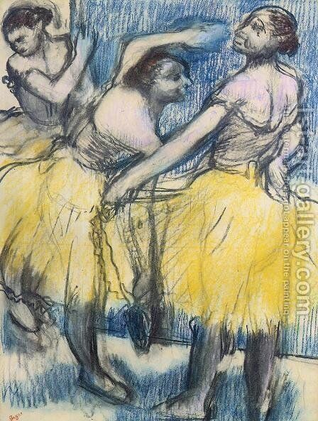 Three Dancers in Yellow Skirts by Edgar Degas - Reproduction Oil Painting