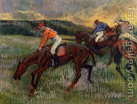 Three Jockeys by Edgar Degas - Reproduction Oil Painting