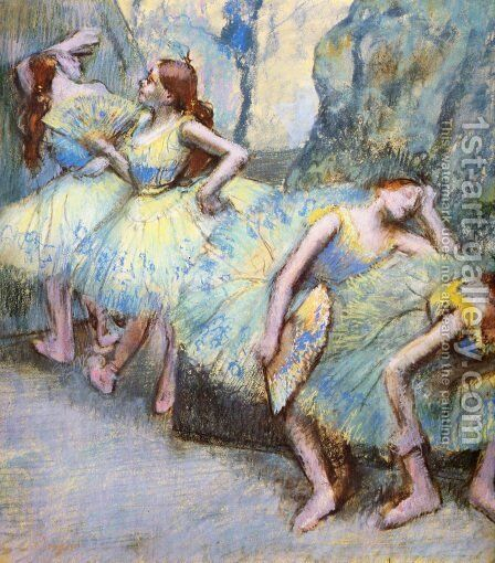 Ballet Dancers in the Wings by Edgar Degas - Reproduction Oil Painting
