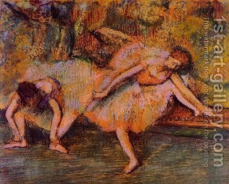 Two Dancers on a Bench by Edgar Degas - Reproduction Oil Painting