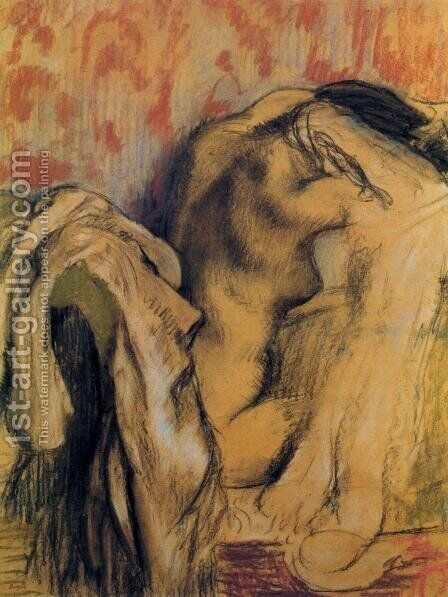 After Bathing, Woman Drying Herself by Edgar Degas - Reproduction Oil Painting