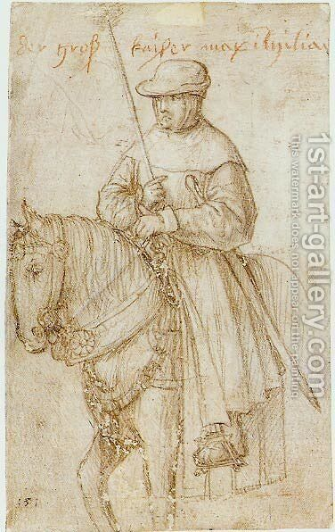 Emperor Maximilian on Horseback by Hans, the Younger Holbein - Reproduction Oil Painting