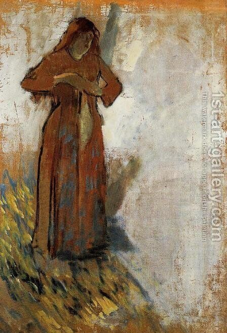 Woman with Loose Red Hair by Edgar Degas - Reproduction Oil Painting