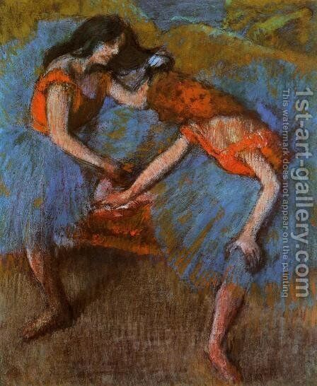 Two Dancers with Yellow Carsages by Edgar Degas - Reproduction Oil Painting