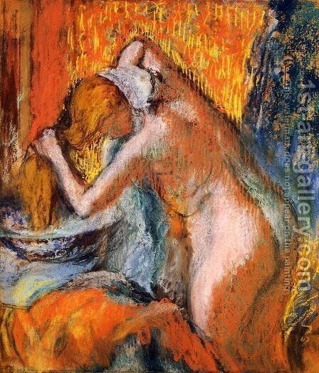 After the Bath, Woman Drying Her Hair by Edgar Degas - Reproduction Oil Painting