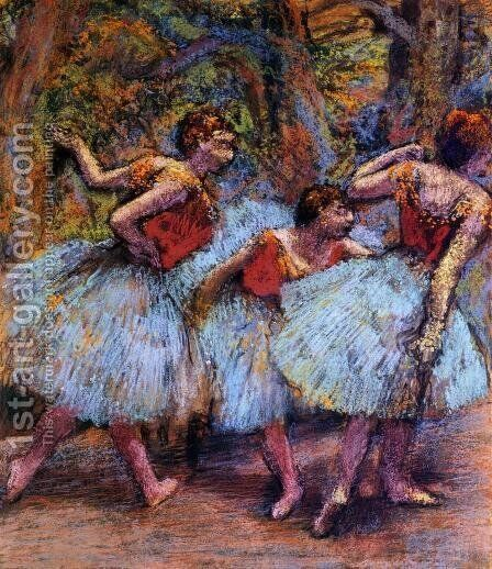 Three Dancers, Blue Skirts, Red Blouses by Edgar Degas - Reproduction Oil Painting