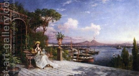 Lost in Reverie by The Bay of Naples by Giuseppe Castiglione - Reproduction Oil Painting