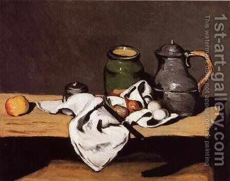 Still Life with Green Pot and Pewter Jug by Paul Cezanne - Reproduction Oil Painting