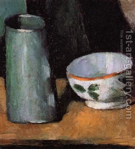 Still Life, Bowl and Milk Jug by Paul Cezanne - Reproduction Oil Painting