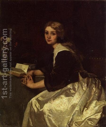 Reverie by Alfred-Emile-Leopole Stevens - Reproduction Oil Painting