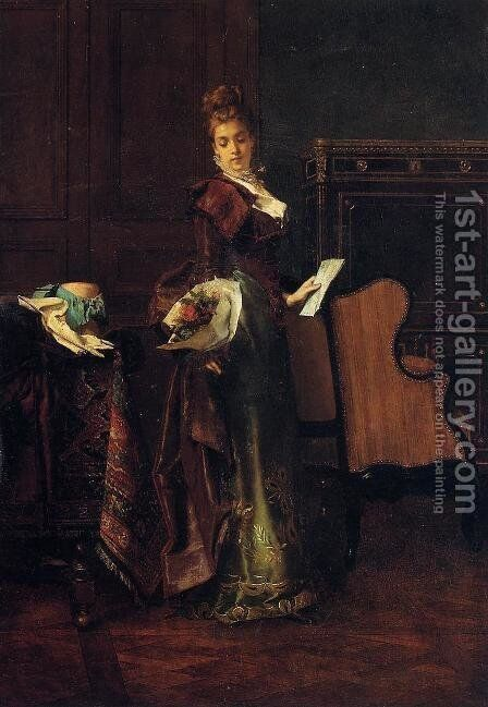 The Love Letter by Alfred-Emile-Leopole Stevens - Reproduction Oil Painting