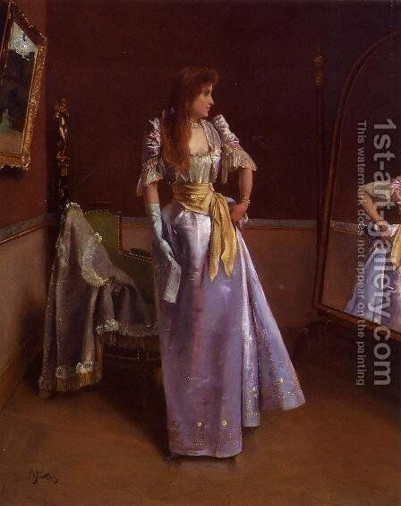 Ready for the Ball by Alfred-Emile-Leopole Stevens - Reproduction Oil Painting