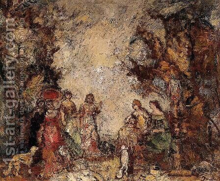 The Meeting of the Elegant Ladies by Adolphe Joseph Thomas Monticelli - Reproduction Oil Painting
