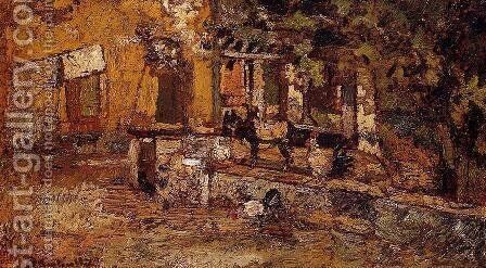 Farmyard with Donkeys and Roosters by Adolphe Joseph Thomas Monticelli - Reproduction Oil Painting