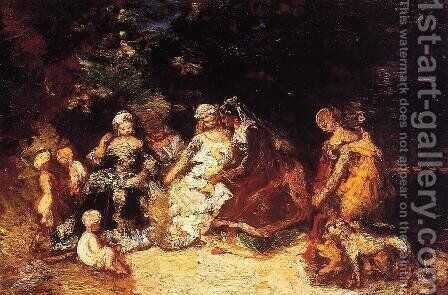Elegant Women and Cupids by Adolphe Joseph Thomas Monticelli - Reproduction Oil Painting