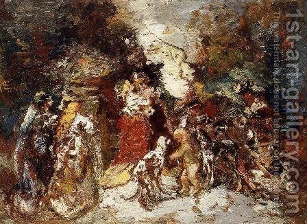 Rendezvous under the Flowered Bower by Adolphe Joseph Thomas Monticelli - Reproduction Oil Painting
