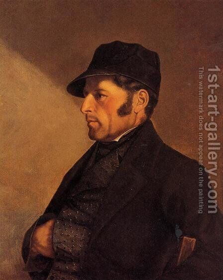 Portrait of the Artist's Father, Regis Courbet by Gustave Courbet - Reproduction Oil Painting