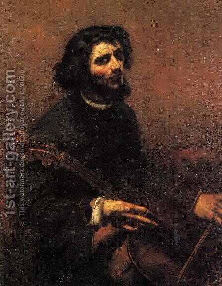 The Cellist, Self Portrait by Gustave Courbet - Reproduction Oil Painting
