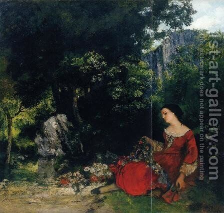 Woman with Garland by Gustave Courbet - Reproduction Oil Painting