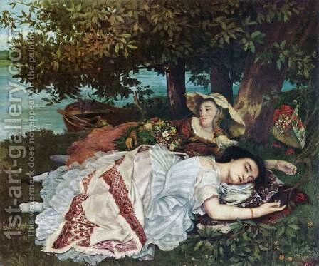 Young Ladies on the Banks of the Seine by Gustave Courbet - Reproduction Oil Painting