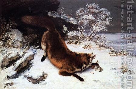 Fox in the Snow by Gustave Courbet - Reproduction Oil Painting