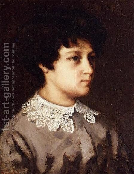 Portrait of a Young Girl from Salins by Gustave Courbet - Reproduction Oil Painting