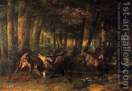 Battle of the Stags by Gustave Courbet - Reproduction Oil Painting